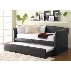 Here is a view with the trundle out!  This is black, not my color choice. I'll try to post the color I want..   Woodbridge Home Designs Meyer Daybed with Trundle..Wayfair