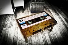 Want: Cassette Tape Coffee Table by Tayble—Functional Furniture Meet Nostalgic Art Wall Mounted Fireplace, Nostalgic Art, Deco Retro, Decoration Originale, Music Decor, Office Gifts, Audio, Woodworking, Cassette Tape