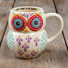 "Folk Art Owl Mug ""Don't Forget To Be Awesome"""