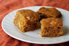 Pumpkin-White Chocolate Blondies « Cate's World Kitchen
