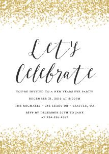 Gold Glitter Celebration party invitation