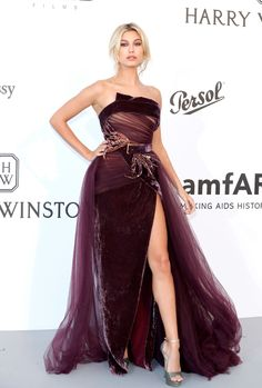 Hailey Baldwin slaying in a dark velour gown with a sexy jolie slit for Elie Saab Couture at AMFAR Gala Cannes 2017 @michaelOXOXO @JonXOXOXO @emmaruthXOXO @emmammerrick #FASHIONINDULGENCE