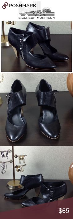 Belle by Siegerson Morrison Black Leather Heels Beautiful black leather heels with zipper and leather flap detail. In good condition with some marks on her heel. Thanks for your interest!  Please checkout the rest of my closet. Belle by Sigerson Morrison Shoes Heels