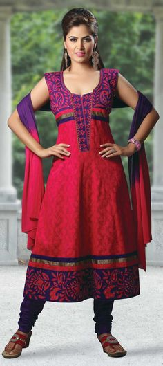 414626: Red and Maroon color family stitched Anarkali Suits. $83