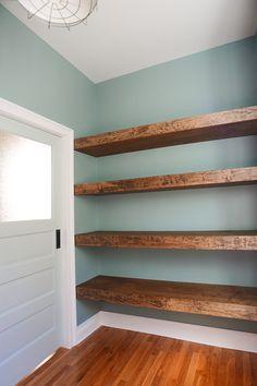 DIY floating wood shelves in the workshop! // via Yellow Brick Home. Cute idea…