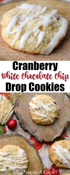 Cranberry White Chocolate Chip Drop Cookies are perfect for holiday cookie exchanges. Easy to make Christmas cookies that even Santa will love. Fun Desserts, Delicious Desserts, Dessert Recipes, Bar Recipes, Cookbook Recipes, Drop Cookies, Yummy Cookies, Easy To Make Christmas Cookies, Holiday Cookies