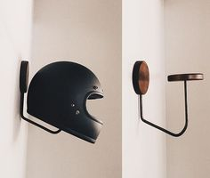 Fitted hat rack ideas For Boys Fedora hat hanger Horseshoe ideas Vintage hat she. Diy Hooks, Deco Design, Motorbikes, Wood Projects, Decoration, Cool Stuff, Inspiration, Hall Closet, Entry Closet