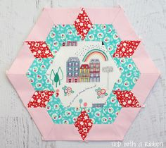 Tied with a Ribbon English Paper Piecing Hexagon Smitten Quilt by Lucy Carson Kingwell