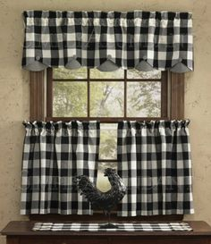 Scalloped Valance by Park Designs, x Black & White Buffalo Check . Scalloped Valance by Park Designs, x Black & White Buffalo Check . Plaid Curtains, Country Curtains, Valance Curtains, Primitive Kitchen, Farmhouse Kitchen Decor, Primitive Decor, Black White Curtains, Vintage Kitchen Curtains, Kitchen Window Coverings
