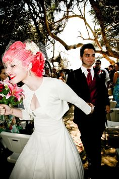 Rockabilly wedding < take a moment to look at the bride's awesome hair. yeah. it's a fantastic color and super cool, retro style. all around amazing.