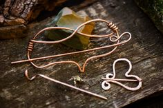 Copper Gift Set 3 in 1: Hair Heart Pin, Heart Brooch Pin and Hair Stick. Gift for her. Valentine gifts. Suitable for Thick Hair