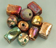 Raku Bead Mix Of Ten by elementspottery on Etsy, $20.00