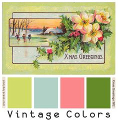 Ponyboy Press - zine maker, design lover, dedicated homebody: Vintage Color Palettes - Xmas Greetings and A Happy New Year Vintage Theme, Vintage Colors, Vintage Posters, Unique Colors, Hex Color Palette, Vintage Colour Palette, Color Combos, Color Schemes, Xmas Greetings