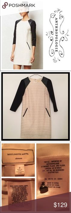 """Anthropologie Moulinette Soeurs textured dress 📦Same day shipping (as long as P.O. is open for business). ❤ Measurements are approximate. Descriptions are accurate to the best of my knowledge.  Gorgeous cream textured fabric, 3/4 stretch sleeves, vegan leather shoulder accents & pocket detailing. Fully lined. Flat measurements: 17"""" bust, 33.5"""" long & sleeve length is 17.5"""". Smoke/pet free. Only sign of wear is where the black sleeves rest on the cream fabric: slight color difference not…"""