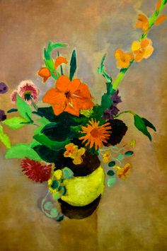 August Macke (1887 - 1914) - Bouquet with Gladiola on Pink Background, 1914 - Kunstmuseum, Bonn (Germany)