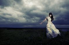 girl who faced the storm alone… Alone Photography, Storm Photography, Photography Women, Fashion Photography, Light Colors, Fantasy Art, White Dress, Clouds, Memories