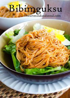 Bibimguksu Bibimguksu is one of the most popular noodle dishes in Korea, especially during hot Summer days.