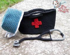 Medical bag crochet set stethoscope surgeon nurse doctor