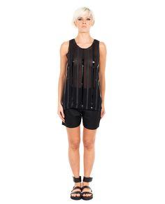 ILARIA NISTRI SILK TOP S/S 2016 Black silk top round neckline sleeveless  transparent look  100% SE Details: 100% PU
