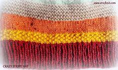 CRAZY STRIPE HAT Knit Pattern Knitting Patterns Free, Knit Patterns, Free Knitting, Free Pattern, Baby Hats Knitting, Knitted Hats, Knit Slouchy Hat Pattern, Knit Crochet, Crochet Hats