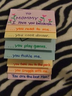 "For Mother's Day: ""I love you because"" book."