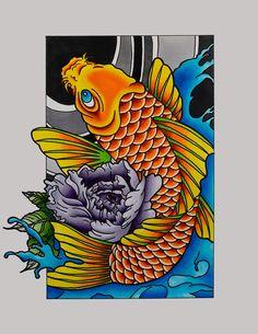 Koi Fish Copic Marker x Koi Tattoo Sleeve, Koi Fish Tattoo, Copic Marker Art, Copic Markers, Fish Art, Mind Blown, Art Reference, Oriental, Ink