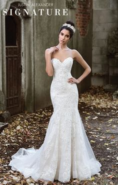 Justin Alexander Signature Wedding Dresses Style 9873 Layers Of Lace And Tulle Modernize This Fit Flare Gown Rich Chantilly Beaded Adorn