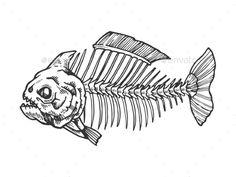 Piranha skeleton tattoo - photo#46