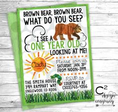 Brown Bear Brown Bear Birthday Invitation by cSquaredDesignCo - Oder for Neive's party Boy First Birthday, First Birthday Parties, First Birthdays, Brown Bear Birthday, Birthday Ideas, Farm Birthday, Happy Birthday, 1st Birthday Invitations, Birthday Banners