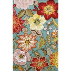 Nourison Fantasy Ivory Rectangular Indoor Handcrafted Area Rug (Common: 5 x Actual: W x L) at Lowe's. These beautiful transitional rugs are meticulously crafted with high-density, hand-hooked yarns and hand carved for additional texture and dimension. Aqua Rug, Aqua Area Rug, Floral Area Rugs, Floral Rug, Floral Design, Blue Rugs, Blue Area, Nourison Rugs, Rectangle Area