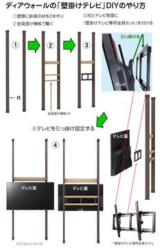 ディアウォールで壁掛けテレビをDIY!おしゃれで倒れない作り方! | わざわざ作りたくなるDIY:DIYネットサンク Office Furniture, Bar Chart, How To Plan, Wall, House, Design, Home, Bar Graphs