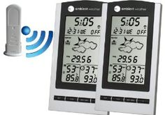 Amazon.com - Ambient Weather WS-1175-2 Dual Zone Wireless Weather Forecaster with Temperature, Humidity, Barometer, Atomic Clock - Weather Stations