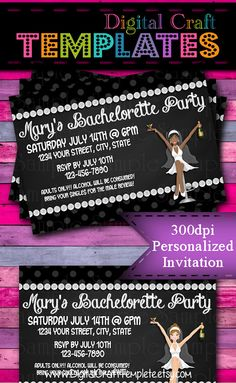 Personalized Printable Invitations   Bachelorette Party   Bride's Night   Bridal Party    #147