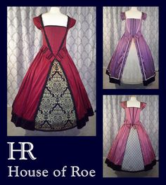3 silk Renaissance dresses | Juicy plum red, Blackberry purple, Hollywood pink | from the Classic Renaissance Collection at House of Roe.