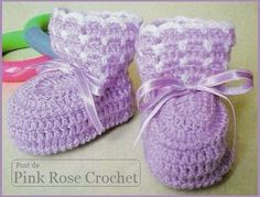 Delicadezas en crochet Gabriela: Conjunto de bebè : Patucos y gorra paso a paso con esquemas