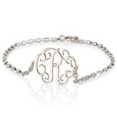 Sideways Silver Monogram Bracelet. #bracelet #jewelry #monograms 9thelm.com
