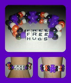 FREE HUGS kandi double purple  bears