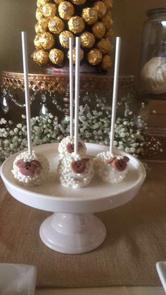 Custom made little Lamb cake pops by Pink n Moist in San Francisco, CA  for little lamb themed sweets table baby shower