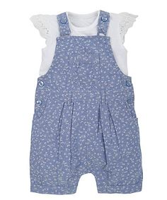 £14 Floral Chambray Bibshorts and Bodysuit Set