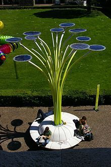 The Solar Tree is a combination of artistic and technological effort which exists as a form of solar artwork. Within the past several years, artistically inclined inventors have strived to envision new methods to gain utility from solar cell technology. This relatively new concept was conceived in an attempt to merge new technology, relating to the absorption and use of solar power, and artistic aesthetic.