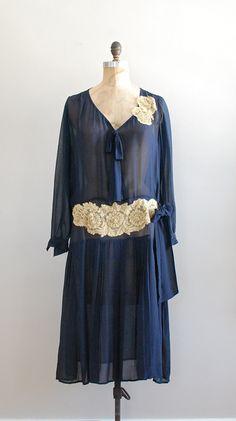 1920s sheer navy silk chiffon dress