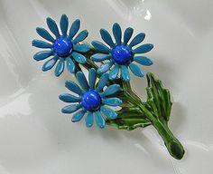 Blue Flower Brooch Turquoise Enamel Daisy via Etsy