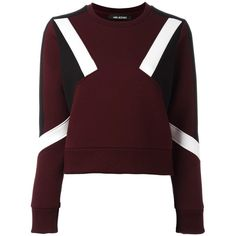 Neil Barrett colour block sweatshirt (9.655.150 VND) ❤ liked on Polyvore featuring tops, hoodies, sweatshirts, purple, neil barrett, colorblock top, long sleeve tops, brown tops and round neck top