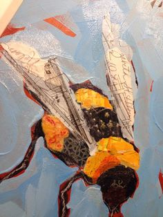 Bee Collage Painting by Elizabeth St. Hilaire Nelson