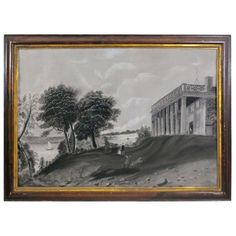 Sandpaper Drawing of Mt Vernon | From a unique collection of antique and modern political and patriotic memorabilia at http://www.1stdibs.com/furniture/folk-art/memorabilia-political-patriotic/