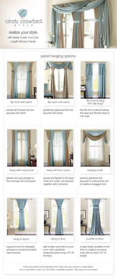 when i decided what curtains i want. have been in the house for over 10 years and still no curtains.LOL - Model Home Interior Design Curtain Styles, Curtain Designs, Drapery Styles, Hanging Curtains, Drapes Curtains, Curtain Panels, Valances, Scarf Curtains, Bedroom Curtains