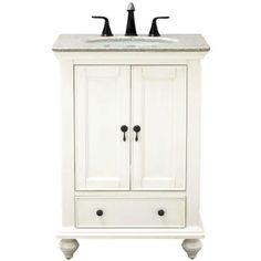 Home Decorators Collection Newport 25 in. Vanity in White with Granite Vanity Top in Champagne with White Basin
