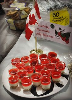 Strawberry Cheesecake Jelly Shooters! Fun for Canada Day.