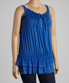 Another great find on #zulily! Lapis Lace-Trim Blouson Tank - Plus #zulilyfinds