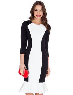 Ruffled Hem Contrast Midi Dress
